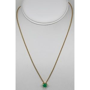 Kate Spade Faceted Green w/Crystal Gold Necklace